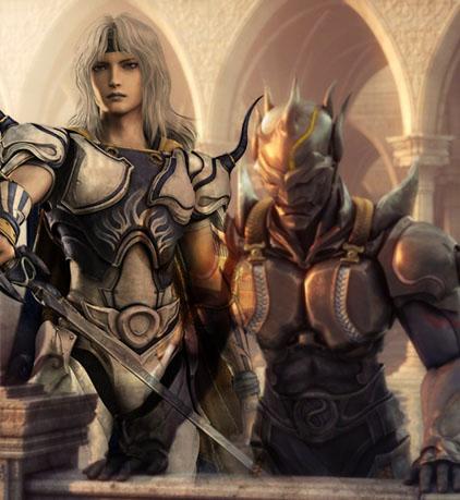 Cecil, le héros de FFIV - en paladin et en chevalier noir
